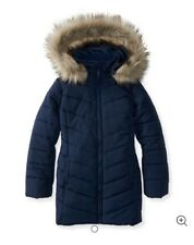 NWT P S Aeropostale Kids Long Puffer Coat Faux Fur Hood Navy Blue Sz 12