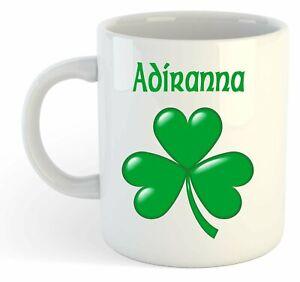 Adiranna - Trèfle Nom Personnalisé Tasse - Irlandais st Patrick Cadeau 60kgDU0K-08022310-386080094