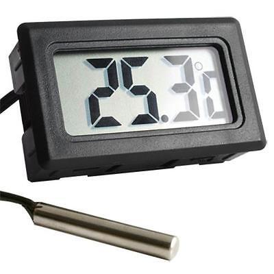 AQUARIUM LCD DIGITAL THERMOMETER WITH PROBE TARRARIUM BLACK FREE BATTERIES