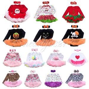 Newborn romper bodysuit tutu dress outfit 2pcs infant headband costume