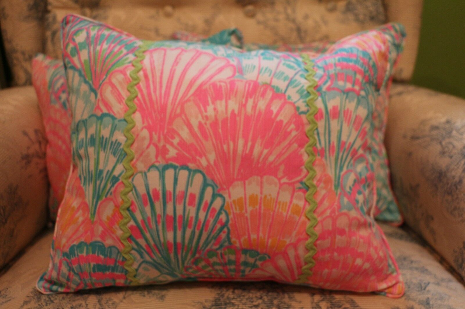 Hand Made Lilly Pulitzer Oh Shello Fabric decorator pillow