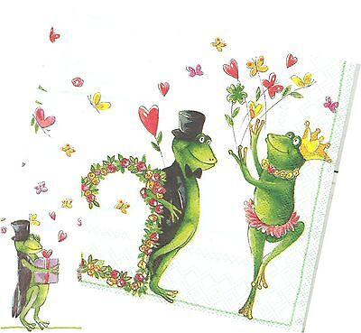 Serviettes en papier Mariage de grenouilles Decoupage Paper Napkins Fancy Frogs
