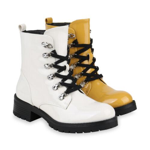 Damen Stiefeletten Worker Boots Gefütterte Lack Schnürer 832277 Schuhe