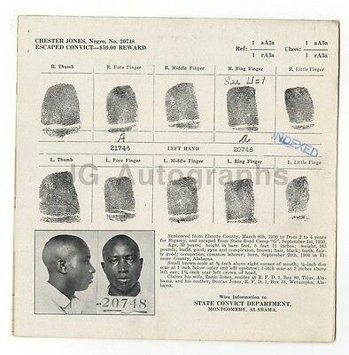 Chester Jones/escaped Convict Wanted Notice Montgomery Alabama $50 Reward