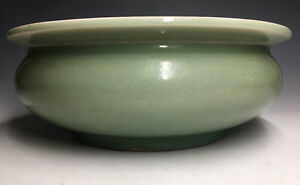Antique-Chinese-Ming-Longquan-LARGE-Bowl-Censer-Celadon-Glazed-Ceramic