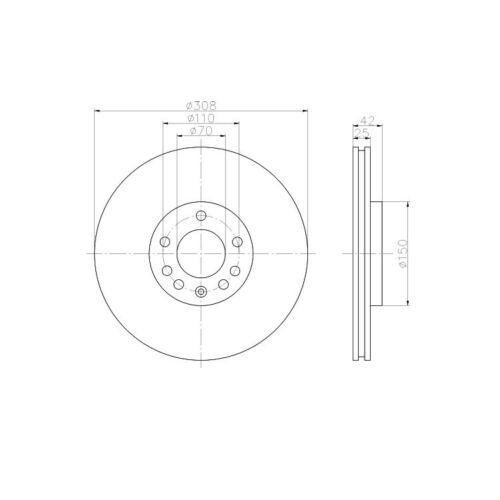 """Textar Bremsscheiben vorne 308mm Opel Astra G H Vectra B Zafira Saab 9-5 16/"""" Rad"""