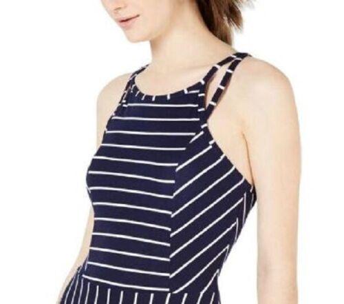 Details about  /Planet Gold Junior Womens L Blue White Stripe Double Straps Skater Dress NWT