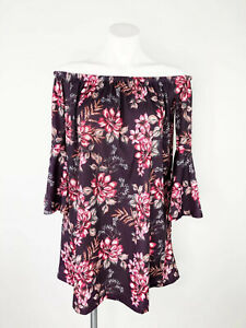 ASOS-Women-s-Purple-Off-The-Shoulder-Bell-Sleeve-Floral-Dress-Size-4-NWT