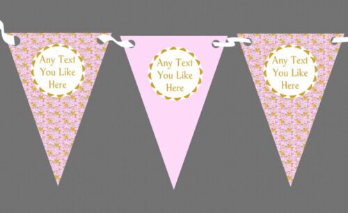 Gold Pink Girls Dolphins Personalised Children/'s Birthday Party Bunting