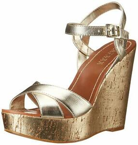Ralph-Lauren-Doreen-Platino-Metallic-Gold-Women-9-M-Platform-Wedge-Sandal