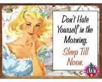 SLEEP TILL NOON VINTAGE RETRO METAL WALL SIGN PLAQUE KITCHEN NEW