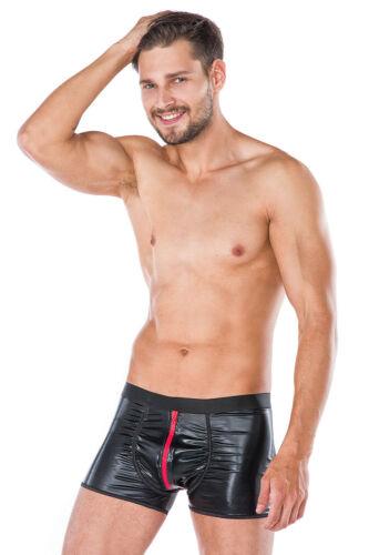 Effetto bagnato effetto Shorts Nero//Rosso Uomo Boxershorts ZIP Uomini Biancheria intima S//M 5 XL
