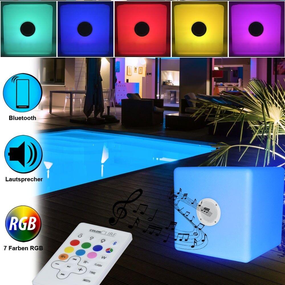 RGB LED Blautooth Lautsprecher Außen Stand Leuchte Garten Party FERNBEDIENUNG