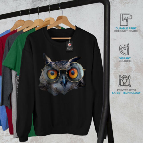 Owl Men Funny Sweatshirt New Hipster Glasses Black rqpf4rAOwW