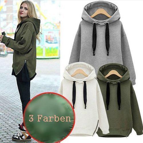 Damen Pullover Pulli Sweater Kapuze Kapuzenpullover Sweats Grau Creme Grün BC423