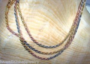 18K Yellow Gold Three Tone DC Ball Chain Bangle Bracelet