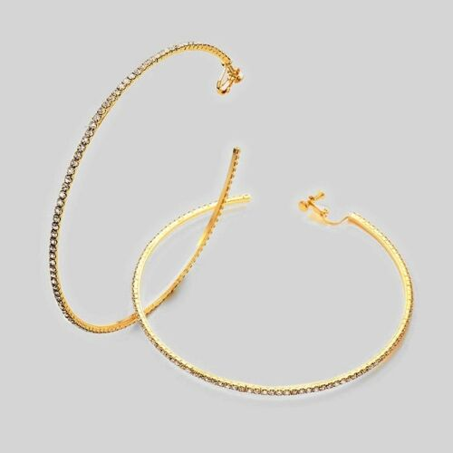 Big prom diamante clip on hoop statement earrings sparkly rhinestone Gold tone