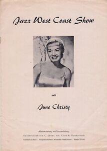 June Christy Bud Shank Bob Cooper 1956 Jazz West Coast program + ticket stub!