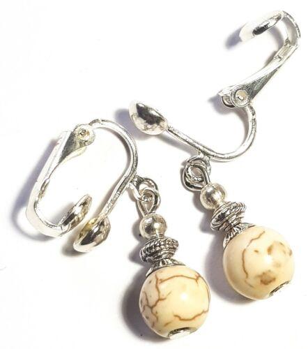 Dainty Silver Howlite Clip On Earrings Gemstone Antique Vintage Tibetan Style