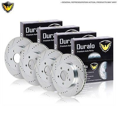 New Complete Set Performance Slotted And Drilled Front & Rear Brake Disc Rotors