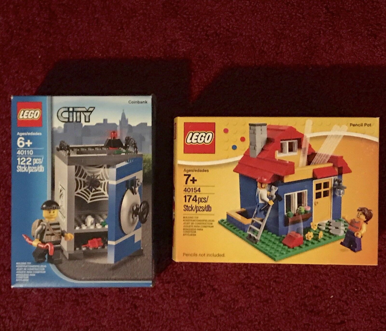 Lego City Coin Bank 40110 And Pencil Pot 40154 ~new Sealed Retirosso Sets~