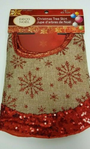 "18/"" Faux Burlap Christmas Tree Skirt For Small Trees ~ Choose from 3 styles"
