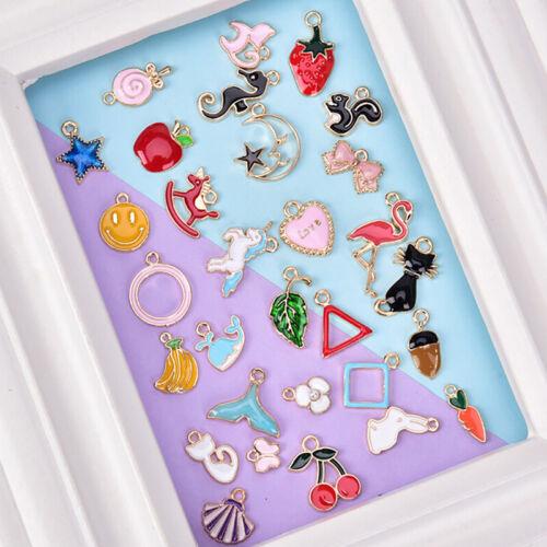 30PCS//Set Enamel Animal Moon Star Fruit Charms Pendant DIY Craft Jewelry MakinXN