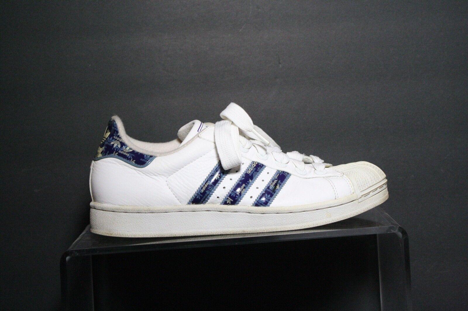 Adidas Superstar VTG '04 Sneaker Athletic Women 9 Multi White bluee Hip Leather