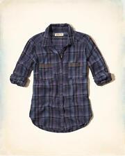 NWT HOLLISTER by ABERCROMBIE WOMEN'S Studded Pocket Plaid Shirt MEDIUM
