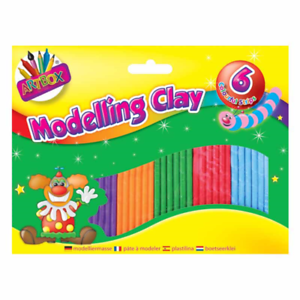 ART BOX  6 Strips of Brightly Coloured Modelling Clay Kids Craft Art Fun