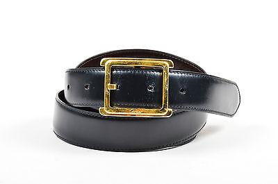 MEN'S Cartier Black Brown Leather Reversible Gold Tone Buckle Belt