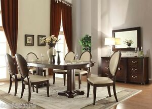 Formal Cherry Finish & PU 7 Pc Dining Table Set Chairs Dining Room Furniture Set