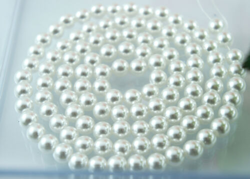 *110pcs Beads 8mm Pure White Color Faux Imitation Plastic Round Pearl Spacer*