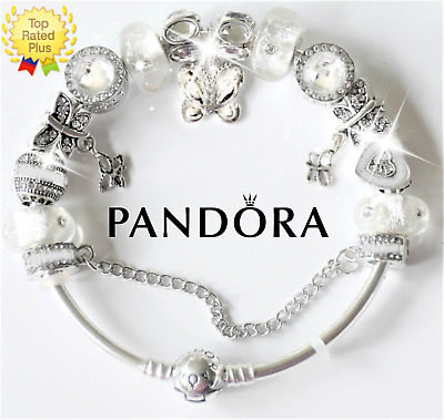 Authentic Pandora Charm Bracelet 925 Bangle Silver Butterfly W European Charms Ebay