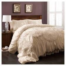 Item 1 Queen Comforter Serena Lush Decor 3pc Quilt Shams Plush Fluffy Ivory Fl