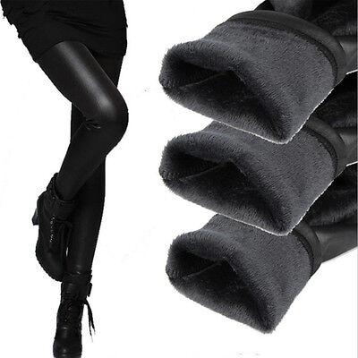Hot Women's Warm Thick Skinny Slim Inside Fleece Faux Leather Leggings Tight