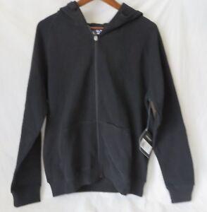 5f4ed17ce18e Fila Hooded Full Zip Soft Fleece Sweatshirt Media Pocket Black Size ...