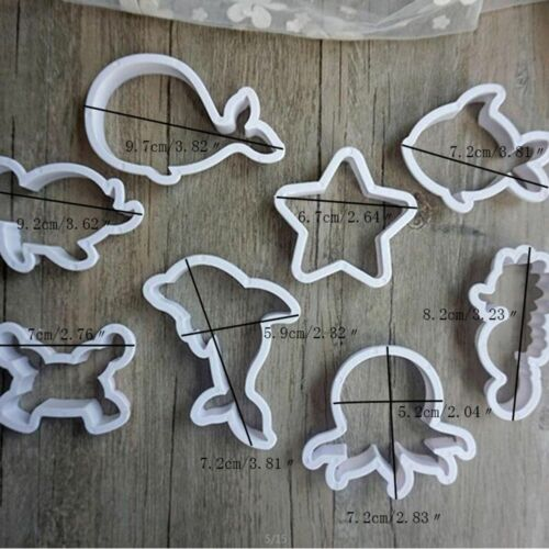 8pcs//set Sea Creatures Cookie Cutter Mold Whale Dolphin Fondant Cake Tools