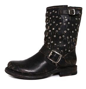 524224cf10b2 Frye Jenna Cut Stud Short Leather Boot Black Women Sz 5.5 B 5618 ...