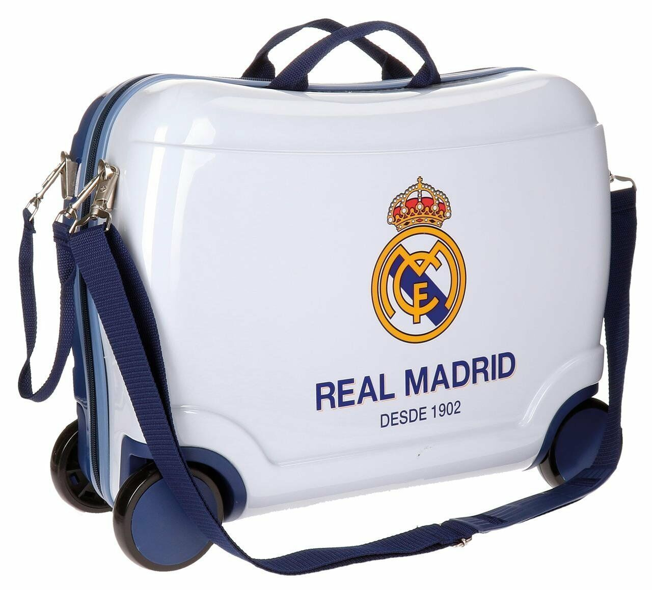Valise Rigide Cabine Avion Roues Trolley Real Madrid ABS blanc bleu