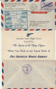 US-1946-PAN-AM-DIRECT-FIRST-FLIGHT-FLOWN-COVER-HOUSTON-TO-SAN-SALVADOR-INSERT