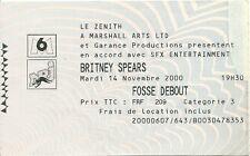 RARE / TICKET CONCERT LIVE - BRITNEY SPEARS PARIS ZENITH ( FRANCE )NOVEMBRE 2000