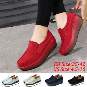 Women-Summer-Slip-On-Loafers-Suede-Wedge-Shoes-Genuine-Leather-Platform-Shoes