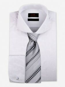 c8c472f20011 Dress Shirt Only by Steven Land Trim & Classic Fit French Cuff-White ...