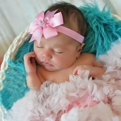 3Pcs Kid Elastic Floral Headband Pearl Hair Girl Child Baby Bowknot Hairband Set
