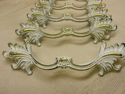 5 Drawer Handles Marked Allison White Gold With Screws Metal French Provincial