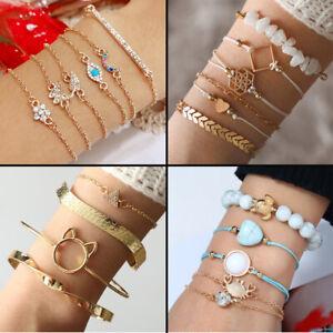 Multi-Style-Damen-Armbaender-Schmuck-Geschenk-Elastischer-Armband-Set-Boehmische