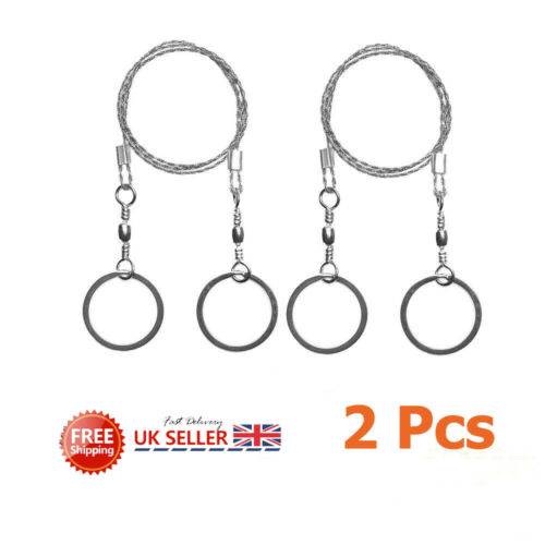 2pcs Wire Saw Camping Stainless Steel Emergency Pocket Chain Saw Survival Gear