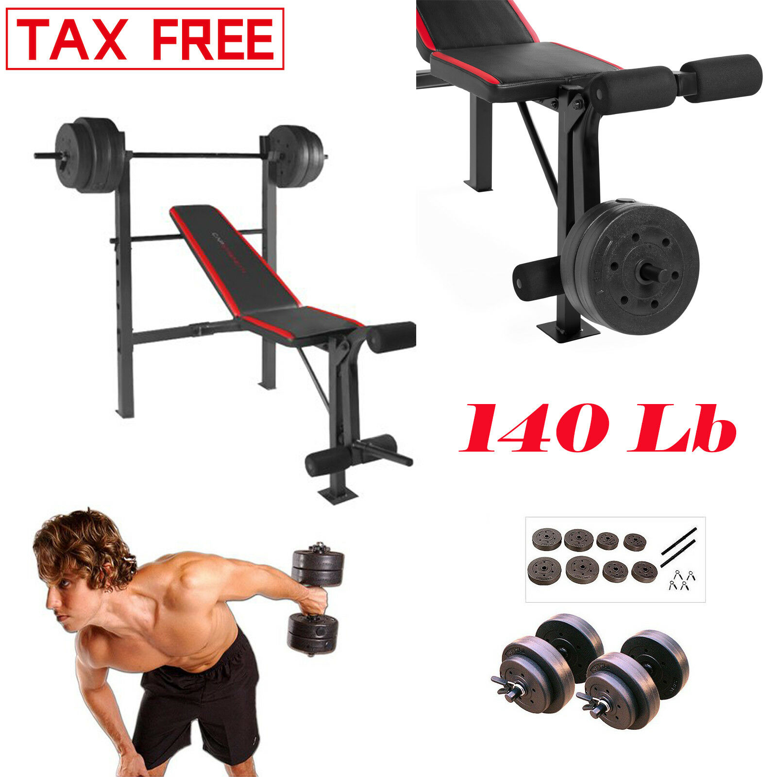 WEIGHT BENCH WITH WEIGHTS SET Dumbbells Standard Vinyl Workout Home Gym 140 Lb