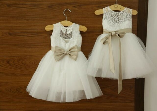 WHITE FLOWER GIRL DRESS PAGEANT WEDDING BRIDESMAID DANCE PARTY DRESS 1-10 Years